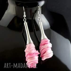 kolczyki materiałowe różowe, kolczyki, lekkie, romantyczne, materiałowe, kwiaty