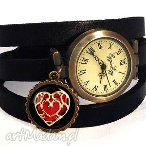 serce - zegarek bransoletka na skórzanym pasku, serce, walentynkowy, prezent, zelda
