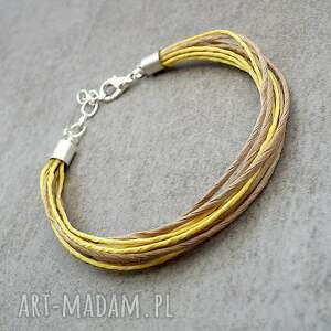 bransoletka tekturowo-żółta, lekka, regulowana, len, tektura, naturalna