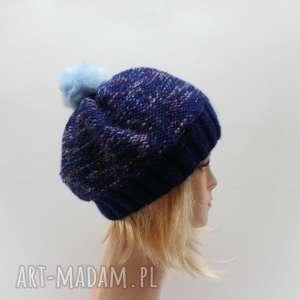 czapka beret z pomponem - beret, moher, melanż, ciepła, zimowa, czapka