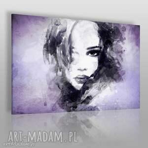obraz na płótnie - kobieta portret fiolet 120x80 cm 14904 , kobieta