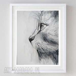 czarny kot -akwarela,abstrakcja formatu 18/24 cm, kot, abstrakcja, zwierzęta