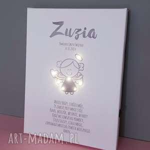handmade dla dziecka pamiątka chrztu świecący obraz led modlitwa aniołek lampka gwiazdki