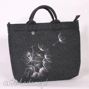ciemna- dmuchawce latawce wiatr, torba, torebka, laptop, filc, haft, dmuchawiac