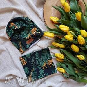 Beanie czapka i komin zestaw tygrys w zaroślach wiosna jesień