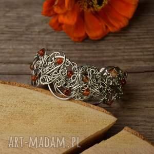 bransoleta szeroka agat pomarańczowy wire wrapping stal chirurgiczna