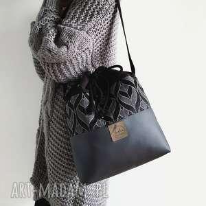tasha handmade torebka worek black prints, torebka, worek, bucket, zamsz