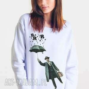 bluzy rain man - bluza damska oversize biała, oversize, bluza, damska, moda