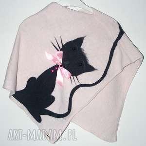 ponczo filcowane dla dziewczynki, koty, filcowanie, prezent, urodziny, wełna