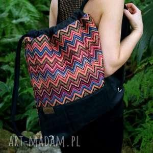 ręcznie robione plecak vege etno czerń