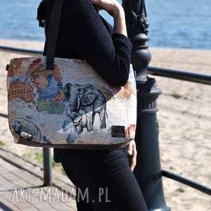 """Lekka i poręczna torba z wzorem """" słonie na ramię world of"""