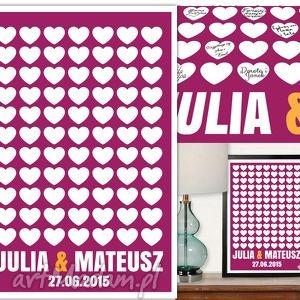 Plakat wpisów gości weselnych - serduszka format 50x70 cm księgi