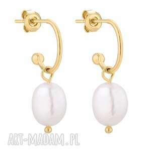 sotho złote kolczyki z naturalnymi perłami - półkola
