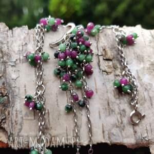 prezenty na święta, komplet - zoisyt z rubinem, zoisyt, rubin, grona