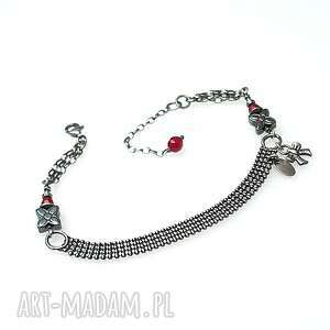 katia i krokodyl tasiemka vol 8 /red bow/ - bransoletka, srebro oksydowane