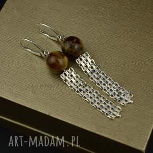 wiszące kolczyki z brązowym bursztynem, nowoczesne kolczyki, srebrne