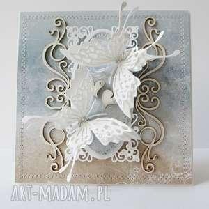 Z motylami - w pudełku scrapbooking kartki marbella ślub