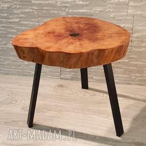 hand-made stoły stolik drewniany z żywicy epoksydowej - plaster olchy
