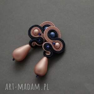 klipsy granatowo-różowe sutasz, sznurek, wyjściowe, delikatne, eleganckie