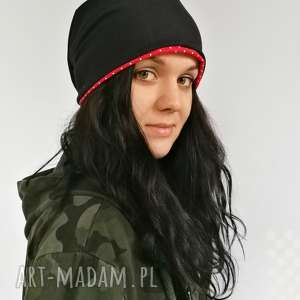czapka dresowa smerfetka, czapka, oversize, kropeczki, jesienna czapki