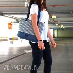 Prezent torba niebieska marine, torba, torebka, damska, prezent, weekendowa