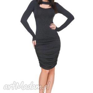 sukienka t160 z marszczeniami, ciemnoszara - sukienka, marszczenie, wiskoza