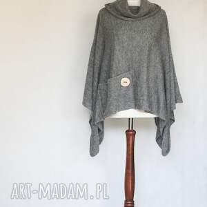 SZARE PONCHO Z KIESZONKĄ, poncho, sweter, dzianina, knitwearfactory, moher