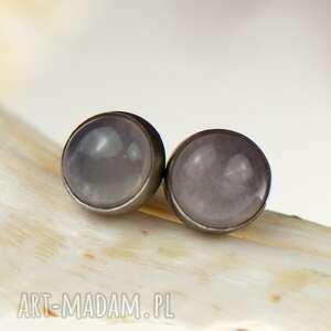 drobinki srebrne z kwarcami d082, delikatne kolczyki, małe