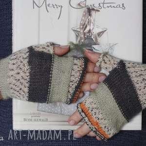 rękawiczki mitenki z orobiną mięty, mitenki, wełna, rękozieło, druty