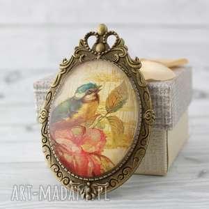 Broszka - medalion 2w1 Ptak Vintage, 2w1, grafika, szkło, vintage, boho