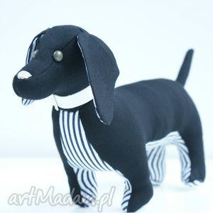 Pies jamnik zabawki kuferek malucha pies, jamnik, maskotka