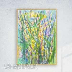 nowoczesny szkic oprawiony, drzewa obrazek w ramce, zielony rysunek, obraz, do pokoju