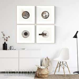 zestaw 4 grafik 30x40 cm wykonanych ręcznie, grafika czarno-biała, abstrakcja