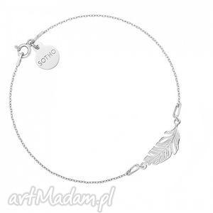 srebrna bransoletka z piórkiem - minimalistyczny, piórko, delikatna
