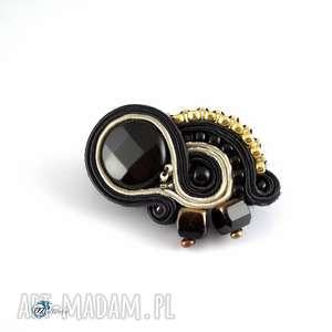 Czarno-bezowa elegancka broszka - haft sutaszowy