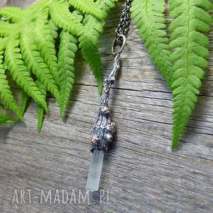raw aquamarine necklace, akwamaryn, srebrny naszyjnik, surowy, organiczny, boho