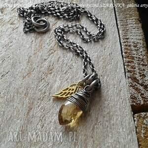 słoneczny anioł naszyjnik z cytrynu i srebra, cytryn, srebro oksydowane, srebro