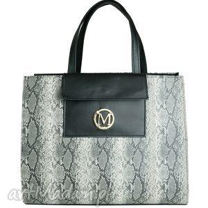 ręcznie robione torebki manzana duża torba miejski styl xxl siwy wąż