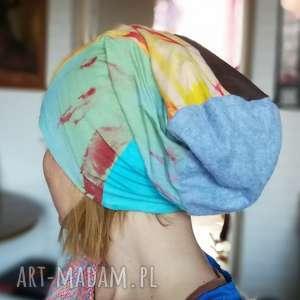 handmade czapki czapka dzianina miękka smerfetka patchwork