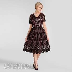 Sukienka daria ii midi nikoletta bordo podkład różowy sukienki