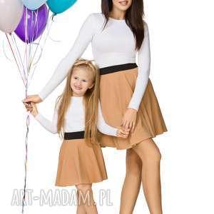 spódnice komplet dla mamy i córki - spódnica z koła na gumie, piaskowy, spódnica