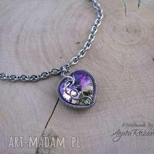 ręczne wykonanie bransoletki bransoletka serce swarovski, wire wrapping