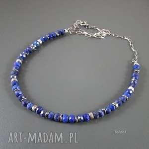 naszyjnik z lapis lazuli przekładkami, srebro, lapis, naszyjnik