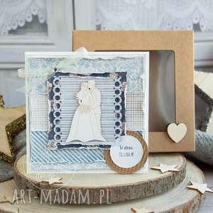 ręcznie wykonane kartki piękna rustykalna kartka ślubna w pudełeczku. Niezwykły prezent