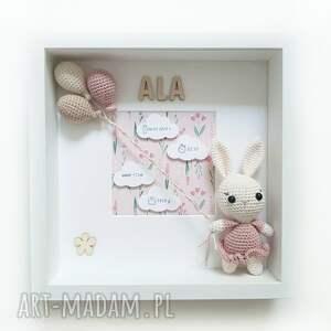 metryczka narodzin dziecka - różowy króliczek, metryczka, narodziny