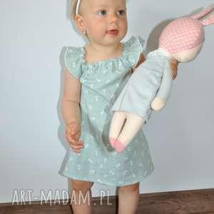Miętowa muślinowa sukienka, muślin, bawełna, falbanka, opaska, cotton, sukienka