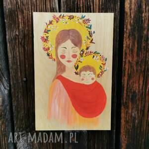unikalny, matka boska chustujaca, obraz, ręcznie malowane, babywearing