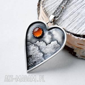 z miłości do gór, góry, srebro, oksydowane serce, karneol, minerały