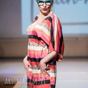 sukienka damska cinture colore - kolorowa, pasy, zwiewna, jedwabna, dekolt, sukienka