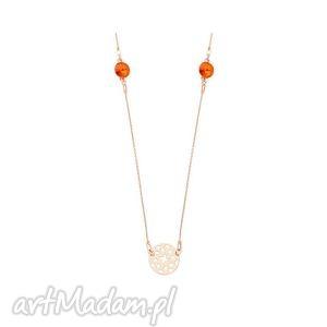 długi naszyjnik z arabskimi rozetami i pomarańczowymi - kryształy